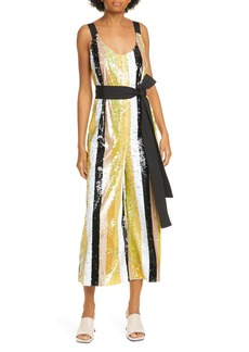 STAUD Puli Sequin Stripe Jumpsuit
