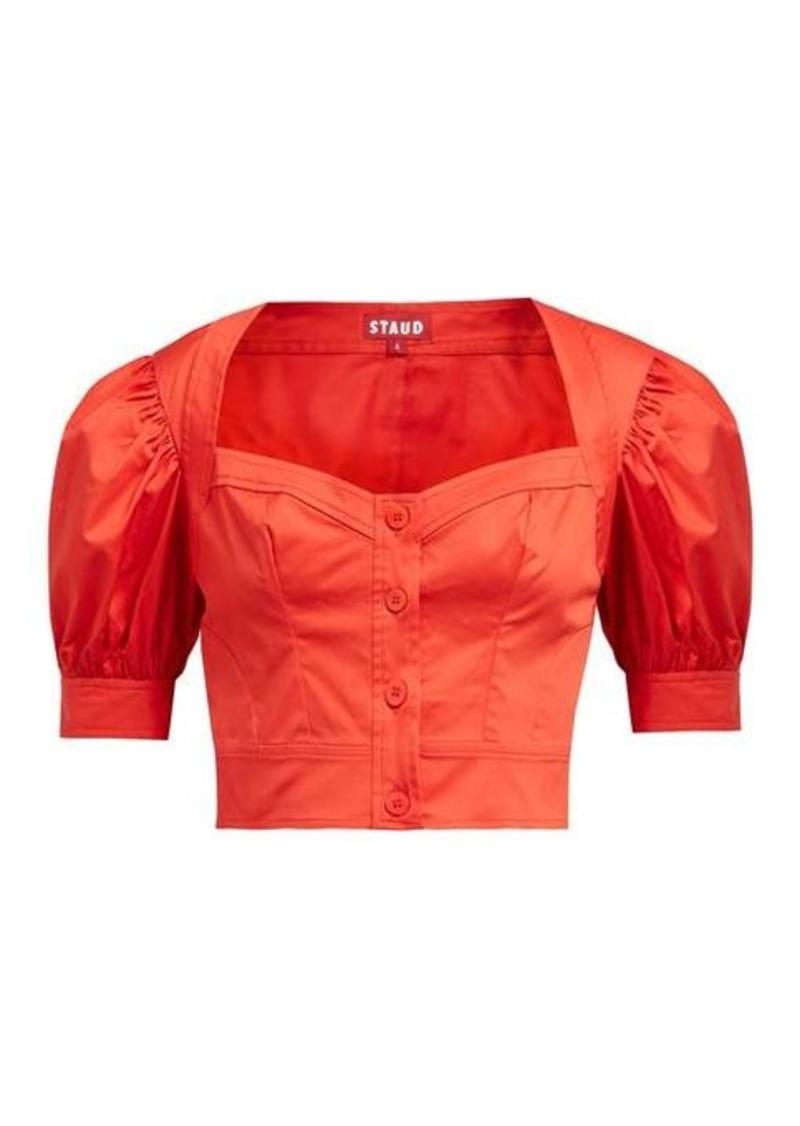 Staud Rene puff-sleeve stretch-cotton twill top