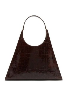 Staud Rey large crocodile-embossed leather shoulder bag