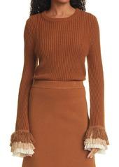STAUD Rip Top Fringe Cuff Sweater