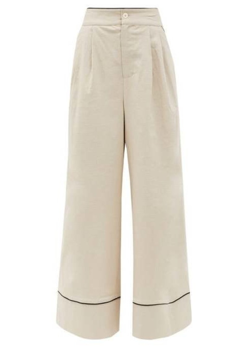 Staud Rory high-rise linen-blend wide-leg trousers