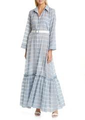 STAUD Rose Plaid Belted Maxi Dress