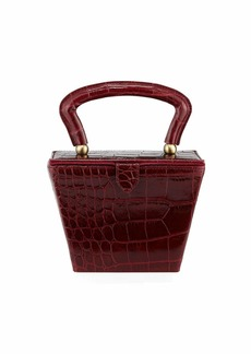 Staud Sadie Crocodile-Embossed Box Top Handle Bag