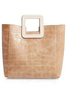 STAUD Shirley Croc Embossed Leather Handbag