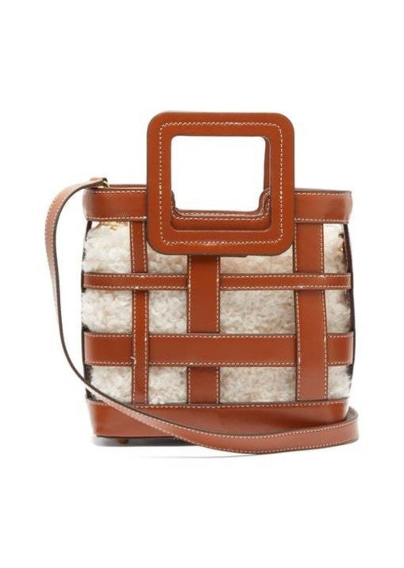Staud Shirley mini leather and shearling bag