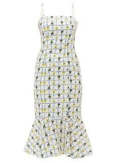 Staud Vegetable-print fishtail-hem linen midi dress