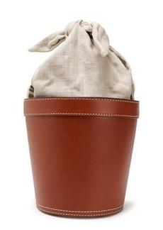 Staud Woman Canvas And Leather Bucket Bag Tan