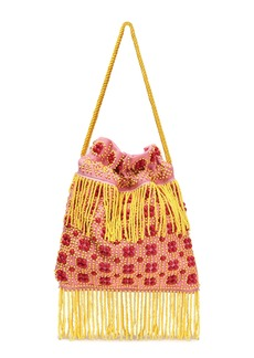 Staud Woman Lance Beaded Fringed Canvas Shoulder Bag Pink
