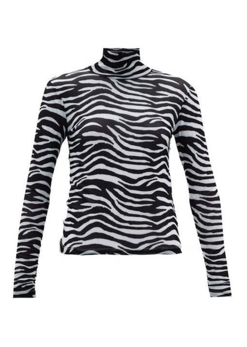 Staud Zebra-print roll-neck mesh top