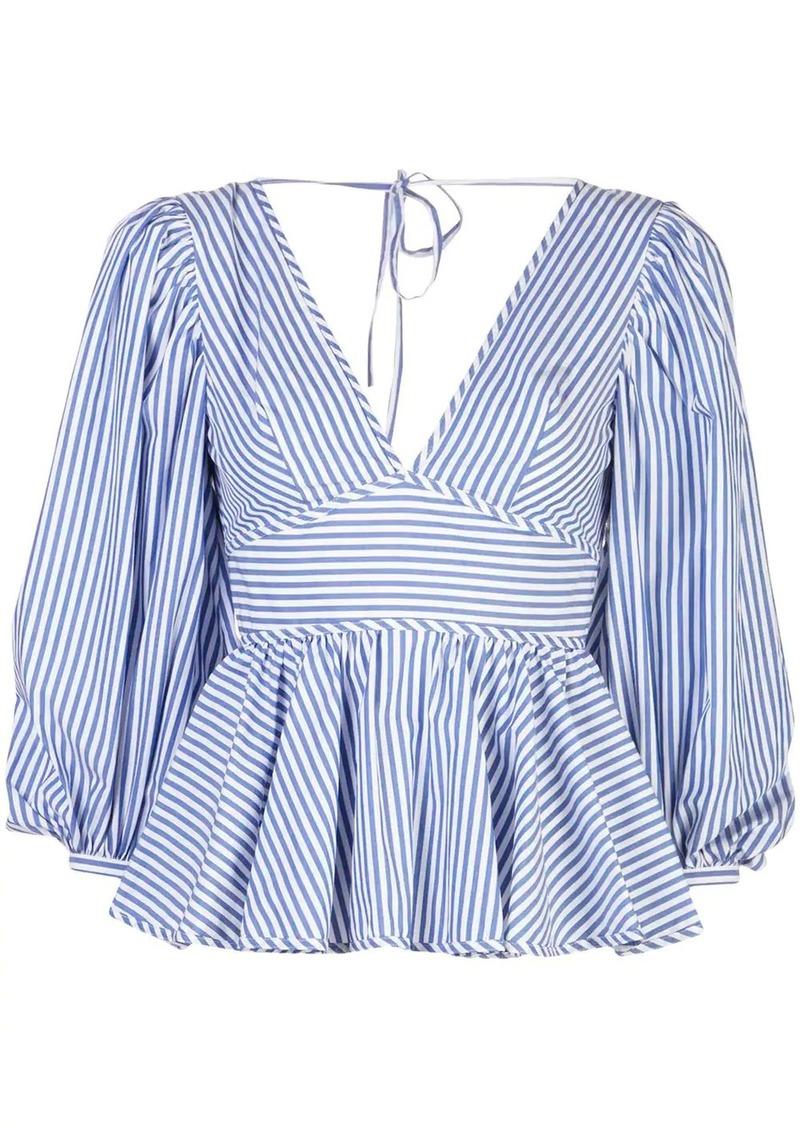 STAUD striped peplum blouse