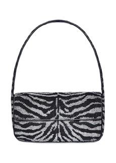 STAUD Tommy Zebra Beaded Shoulder Bag