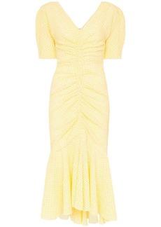 STAUD V-neck gingham midi dress