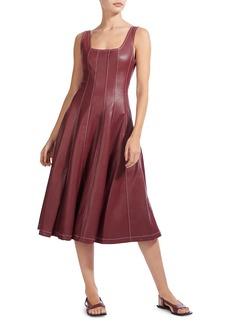 STAUD Wells Squareneck Faux-Leather Midi Dress