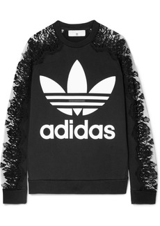 Stella McCartney Adidas Lace-paneled Printed Cotton-jersey Sweatshirt