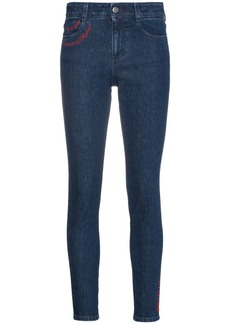 Stella McCartney All Is Love embroidered skinny jeans