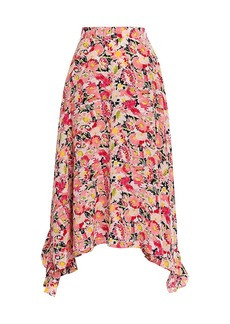 Stella McCartney Ashlyn Watercolor Floral Silk Skirt