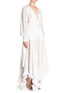 Stella McCartney Asymmetric Monogrammed Silk Deep V-Neck Dress