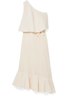 Stella McCartney Asymmetric One-shoulder Silk Crepe De Chine Midi Dress