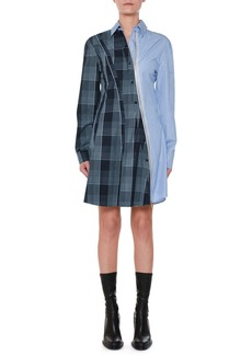 Stella McCartney Asymmetric-Zip Plaid & Striped Mixed-Print Oxford Flippy Dress