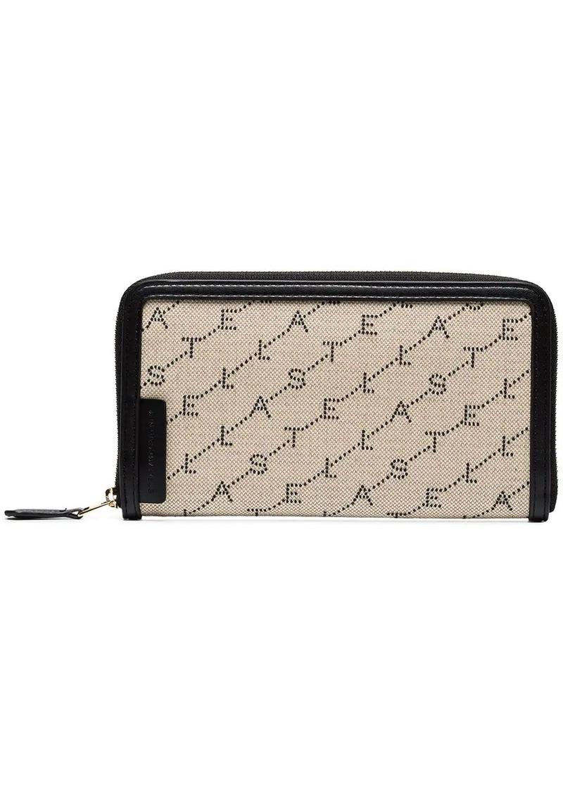 Stella McCartney Beige logo print zip wallet
