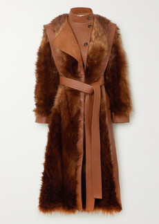 Stella McCartney Belted Vegetarian Leather And Faux Fur Coat