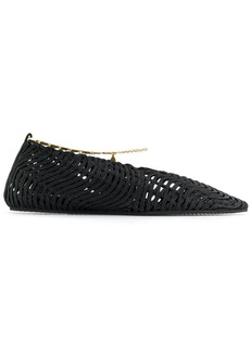 Stella McCartney Black Anklet detail woven pumps