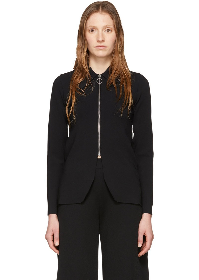 Stella McCartney Black Compact Knit Zip-Up Sweater