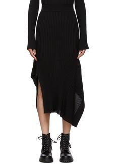 Stella McCartney Black Rib Knit Asymmetric Flared Skirt