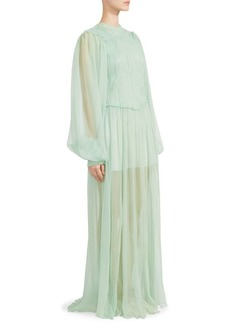 Stella McCartney Blouson Sleeve Ruched Chiffon Gown