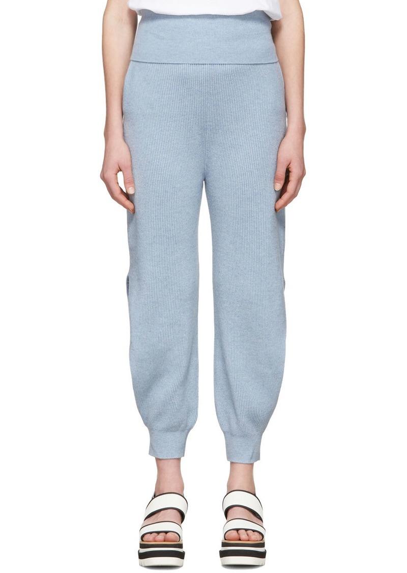 Stella McCartney Blue Cashmere Slashed Ankle Lounge Pants