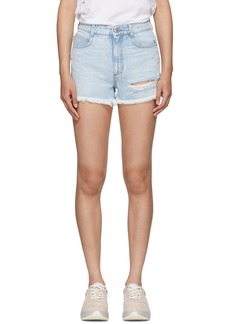 Stella McCartney Blue Distressed Denim Shorts