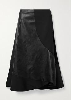 Stella McCartney Brenda Paneled Stretch-wool And Vegetarian Leather Midi Skirt