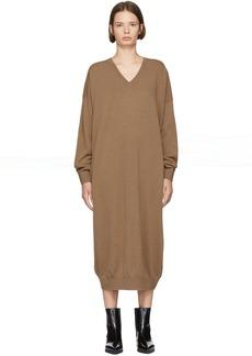 Stella McCartney Brown Alpaca & Wool V-Neck Dress