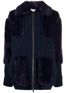 Stella McCartney cable-knit faux-fur cardigan