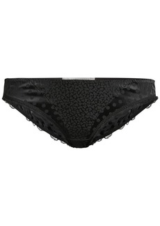 Stella McCartney Camellia Daring Leopard & Polka Dot Strech-Silk Jacquard Bikini Briefs