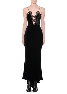 Stella McCartney Cami-Strap Lace-Front Velvet Evening Gown with Fishtail Hem