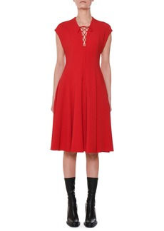 Stella McCartney Cap-Sleeve Lace-Up Front A-Line Dress