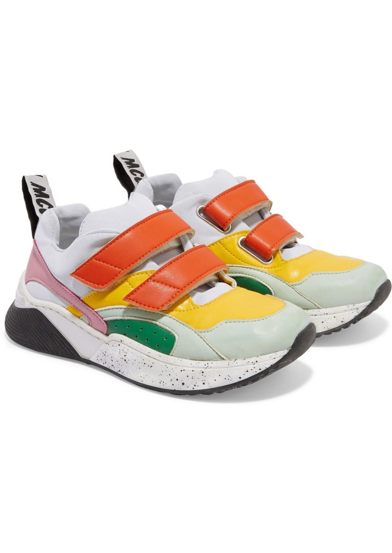 Stella McCartney Color-block Distressed Leather And Canvas Sneakers