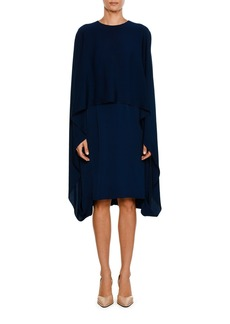 Stella McCartney Crewneck Cape-Front Belted Short Dress