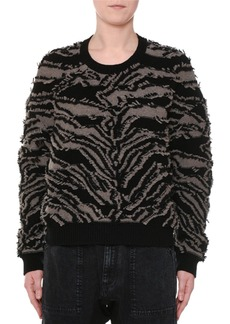 Stella McCartney Crewneck Clipped Fringe Chunky Pullover Sweater