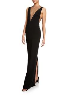 Stella McCartney Deep V-Neck Mesh Column Gown