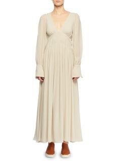 Stella McCartney Deep-V Smocked Empire-Waist Silk Long Dress