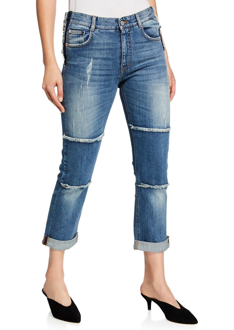 Stella McCartney Distressed Denim Jeans w/ Fringe Lining