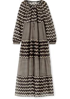 Stella McCartney Drawstring Tunnels Printed Cotton And Silk-blend Maxi Dress