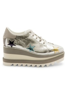 Stella McCartney Sneak-Elyse Metallic Star Platform Wedge Sneakers