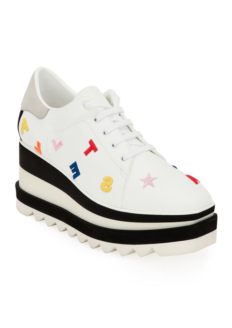 Stella McCartney Elyse Embroidered Lace-Up Sneakers