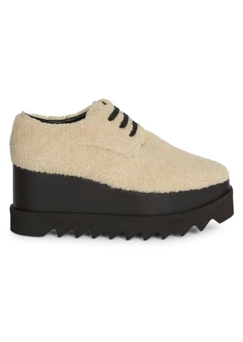 Stella McCartney Elyse Faux Shearling Platform Wedge Sneakers