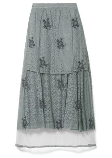 Stella McCartney Embroidered Tulle-paneled Corded Lace Midi Skirt