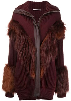 Stella McCartney faux fur trimmed cardi-coat
