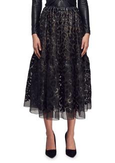 Stella McCartney Faux-Leather Burnout Full Peasant Skirt